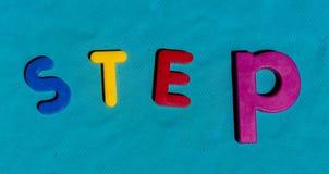 L'alfabeto segna il punto con lettere variopinto di parola dei giocattoli dei bambini Immagine Stock Libera da Diritti