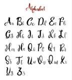 L'alfabeto segna il vettore con lettere di calligrafia dell'iscrizione Immagine Stock