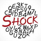 L'alfabeto segna la scheda con lettere di gesso Fotografia Stock