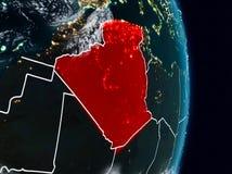 L'Algérie de l'espace la nuit illustration stock