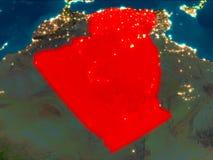 L'Algérie en rouge la nuit Images libres de droits