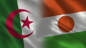 L'Algérie et Niger Realistic Half Flags Together illustration stock