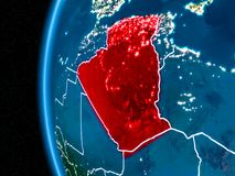 L'Algérie sur terre la nuit Image libre de droits