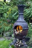L'alimento arrostito sopra ferro ha fuso il forno del barbecue, con i ceppi di legno brucianti Fotografia Stock