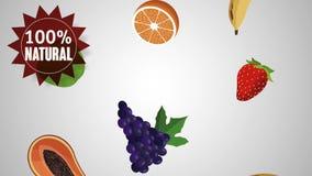 L'alimento biologico fruttifica animazione di HD video d archivio