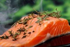 L'alimento di estate, rosa ha colorato la bistecca di pesci in una marinata del vino Immagini Stock Libere da Diritti