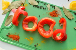 L'alimento di parola Fotografia Stock