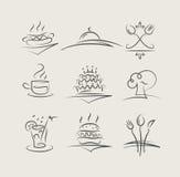 L'alimento e gli utensili hanno impostato delle icone di vettore Immagini Stock Libere da Diritti