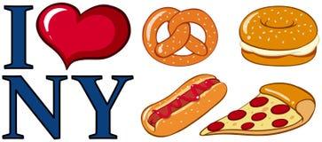 L'alimento ed io differenti amano il segno di New York royalty illustrazione gratis
