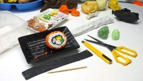 L'alimento giapponese dell'argilla del modanatura della scultura è shi di Shu, creatività di attività di arte fotografia stock