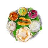 L'alimento indiano nazionale del bengalese sulla foglia di un banano, illustrazione dell'acquerello illustrazione vettoriale
