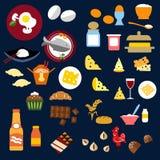 L'alimento, pesce, fa un spuntino e beve le icone piane Fotografia Stock
