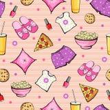 L'alimento rosa del pigiama party di vettore obietta senza cuciture Fotografie Stock