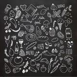 L'alimento scarabocchia la raccolta Icone disegnate a mano di vettore Illustrazione di disegno a mano libera Fotografie Stock Libere da Diritti