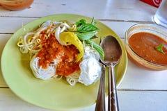 L'alimento tailandese delizioso KaNom jeen Immagini Stock