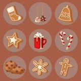 L'alimento tradizionale di natale del biscotto carda l'illustrazione dolce di vettore del pasto della celebrazione di natale dell royalty illustrazione gratis
