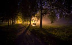 L'allée brumeuse de nuit avec les rayons légers et choisissent le banc Photographie stock libre de droits