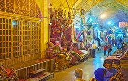 L'allée de tapis du bazar de Vakil, Chiraz, Iran Photo stock