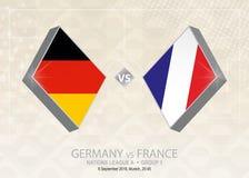L'Allemagne contre des Frances, ligue A, groupe 1 Competitio du football de l'Europe illustration de vecteur