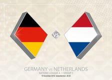 L'Allemagne contre les Pays-Bas, ligue A, groupe 1 Compe du football de l'Europe illustration stock