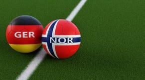L'Allemagne contre Match de football de la Norvège - ballons de football dans des couleurs nationales de l'Allemagne et de la Nor Illustration Stock