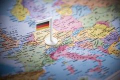 L'Allemagne a identifié par un drapeau sur la carte images libres de droits