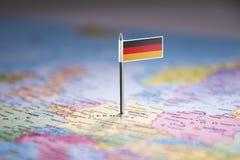 L'Allemagne a identifié par un drapeau sur la carte image libre de droits