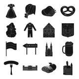 L'Allemagne, le pays, l'architecture et toute autre icône de Web dans le style noir Attributs, tourisme, icônes d'Oktoberfest dan Images stock