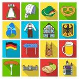 L'Allemagne, le pays, l'architecture et toute autre icône de Web dans le style plat Attributs, tourisme, icônes d'Oktoberfest dan Images libres de droits