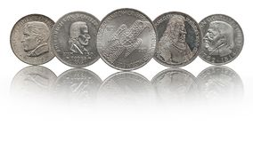 L'Allemagne 5 pièces de monnaie commémoratives argentées de mark photos stock