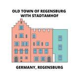 L'Allemagne, Ratisbonne, vieille ligne concept de Stadtamhof de ville d'icône L'Allemagne, Ratisbonne, signe plat de vecteur de S illustration libre de droits