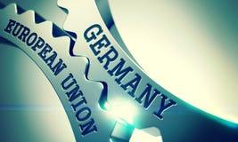 L'Allemagne - Union européenne Roues dentées brillantes en métal 3d illustration stock