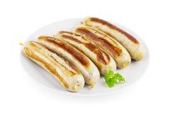 Saucisses frites par Allemand Images libres de droits