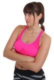 L'allenamento di forma fisica della donna mette in mostra l'addestramento che cerca isolato Fotografie Stock