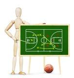 L'allenatore mostra il piano del gioco di pallacanestro sulla lavagna verde Immagini Stock