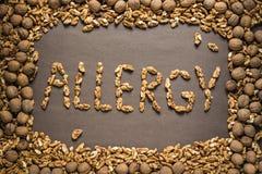 L'allergie de mot est écrite des noix Photographie stock