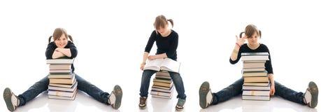 L'allievo dei tre giovani con libri isolati immagini stock libere da diritti
