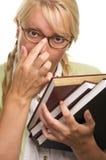 L'allievo del Bookworm trasporta i libri Fotografia Stock