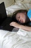 L'allievo della ragazza è caduto addormentato Fotografia Stock