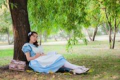 L'allievo della ragazza è rientrato sonno in un albero con un libro Immagini Stock