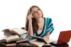 L'allievo femminile prepara per esame Immagine Stock Libera da Diritti