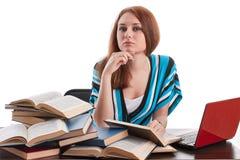 L'allievo femminile prepara per esame Immagini Stock