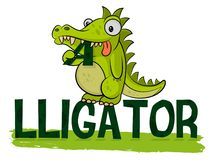 L'alligator affam? mignon mange le logo Vecteur de Logotype de crocodile Illustration d'alligator Gros petit croc Animal amical d illustration libre de droits