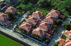 L'alloggio di zona residenziale copre la vista dall'aria Fotografia Stock Libera da Diritti