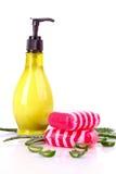 L'aloès vera et le savon ont isolé Images stock