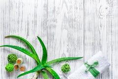 L'aloe fresco vera copre di foglie sul copyspace di legno di vista superiore del fondo Fotografia Stock