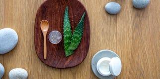 L'aloe vera va, ingrediente per il fronte d'idratazione organico e skincare Immagine Stock Libera da Diritti