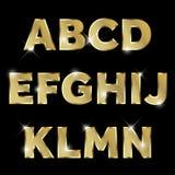 L'alphabet éclatant en métal d'or a placé le haut de casse d'A à de N Illustration de Vecteur