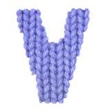 L'alphabet anglais de la lettre V, colorent bleu-foncé Image stock