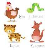 L'alphabet avec des animaux de H à K a placé 2 Photos stock